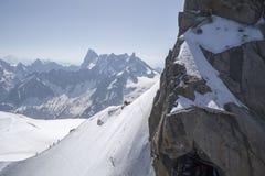 Aiguille du Midi, massiccio di Mont Blanc, alpi francesi Immagini Stock