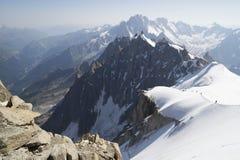 Aiguille du Midi, Mont Blanc-massief, Franse Alpen royalty-vrije stock afbeelding