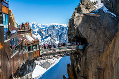 Aiguille du Midi Platform,2-AUGUST 2013 France, Europe Stock Photo