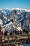 Aiguille du Midi platforma, 2-AUGUST 2013 Francja, Europa Zdjęcie Royalty Free