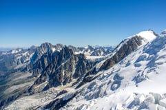 Aiguille du midi. The three mountains route to mont blanc Royalty Free Stock Photos