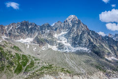 The Aiguille du Moine (l) and the Grande Rocheuse (c) in the french alps above Chamonix royalty free stock photography