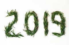 2019 Aiguilles d'arbre de Noël sur le fond blanc Des nombres sont faits de branches de pin Concept d'an neuf image stock