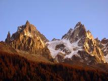 Aiguilles de Chamonix en automne, Mont Blanc, Alpes Photos stock