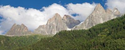 Aiguilles de Chamonix panorama Royalty Free Stock Images