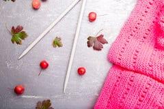 Aiguilles de tricotage proches d'écharpe rose sur le fond gris Vue supérieure Copiez l'espace Photos stock