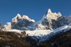 Aiguilles du Alpes dal Mer de Glace, Chamonix-Mont-Blanc, Savoia, Rh Fotografie Stock Libere da Diritti