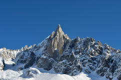 The Aiguilles du Midi mountain range in Chamonix Stock Photography