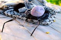 Aiguilles et verres de tricotage d'embrouillement Photographie stock