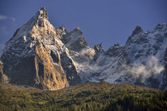 Aiguilles mountain range peaks and blue sky Stock Images