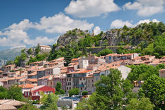 Aiguines. Ancient village of aiguines, france Stock Photography