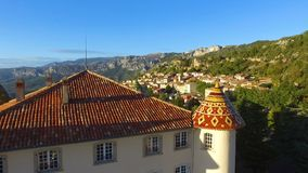 Aiguines castle in French Provence stock footage