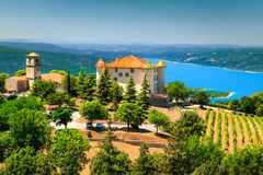 Aiguines castle and St Croix lake in background, Provence, France, Europe stock image