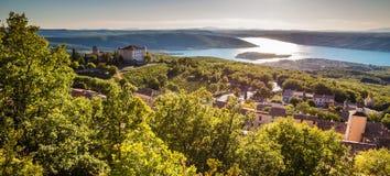 Aiguines, Chateau And Sainte Croix Lake-France Royalty Free Stock Photos