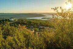 Aiguines and Sainte Croix lake. Castle of Aiguines and Sainte Croix lake in France Stock Photo
