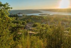 Aiguines and Sainte Croix lake. Castle of Aiguines and Sainte Croix lake in France Royalty Free Stock Photography