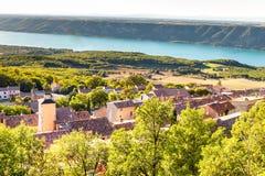Aiguines Village And Sainte Croix Lake-France Stock Photos