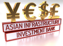 AIIB - The Asian Infrastructure Investment Bank - 3D Render Royalty Free Stock Images