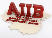 AIIB - The Asian Infrastructure Investment Bank - 3D Render Royalty Free Stock Photo