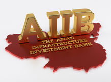 AIIB - The Asian Infrastructure Investment Bank - 3D Render. AIIB - The Asian Infrastructure Investment Bank - World Bank - 3D Render Royalty Free Stock Photo