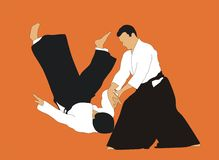 Aikido. Demonstration of aikido skills and techniques Royalty Free Stock Images