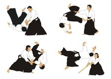 Aikido. Demonstration of aikido skills and techniques Stock Images