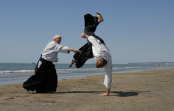 Aikido on the beach Royalty Free Stock Image