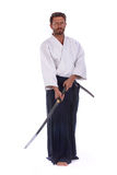 Aikido black belt master isolated Stock Photos