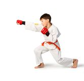 Aikido boy. A young boy aikido fighter in white kimono Royalty Free Stock Images