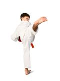 Aikido boy. A young boy aikido fighter in white kimono Stock Photography