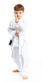 Aikido boy fighting position Royalty Free Stock Photography