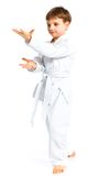 Aikido boy fighting position Royalty Free Stock Photo