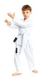 Aikido boy fighting position Royalty Free Stock Image