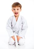 Aikido boy recreation position Stock Photography