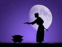 Aikido en el claro de luna Fotos de archivo libres de regalías