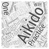 Aikido exercise teaching training word cloud concept  background. Text Royalty Free Stock Image