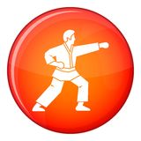 Aikido fighter icon, flat style Stock Photography