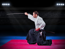 Aikido fighter with sword Royalty Free Stock Images