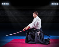 Aikido fighter with sword Stock Images