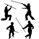 Aikido kids silhouettes Royalty Free Stock Photos