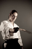 Aikido man with a katana(sword) Royalty Free Stock Photos