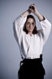 Aikido man with katana(sword) Royalty Free Stock Images