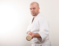 Aikido man with a stick. On a light background stock image
