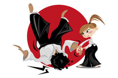 Aikido martial art female Royalty Free Stock Images