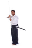 Aikido master ready for fight stock photos