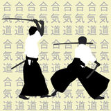 Aikido men silhouettes Royalty Free Stock Photos