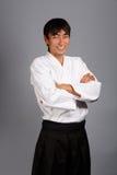 Aikido smile. Aikido man on grey background smiling Stock Image