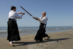 Aikido sur la plage Images stock