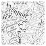 Aikido technique weapon word cloud concept  background Stock Photos
