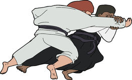 Aikido Throw. Isolated martial arts throwing technique over white Royalty Free Stock Photos